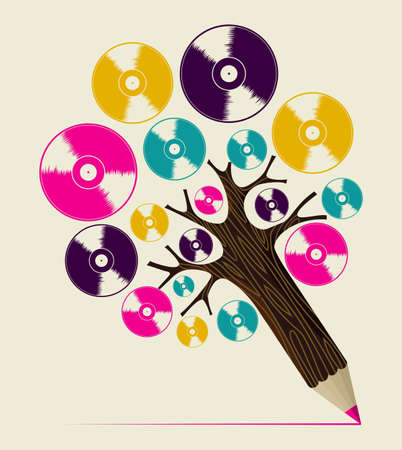 Retro analogue music vinyl disc concept pencil tree. Vector illustration layered for easy manipulation and custom coloring. Vector
