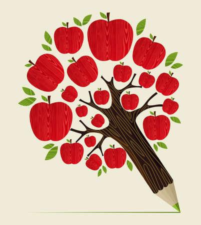 eğitim: Ağaç kalem fikir lezzetli kırmızı elma simgesi. Vector illustration kolay manipülasyon ve özel boyama için katmanlı. Çizim