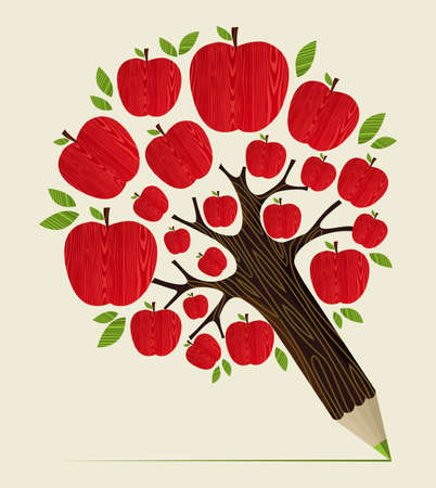 apple cartoon: Delicious red apple icon in tree pencil idea. Vector illustration layered for easy manipulation and custom coloring.