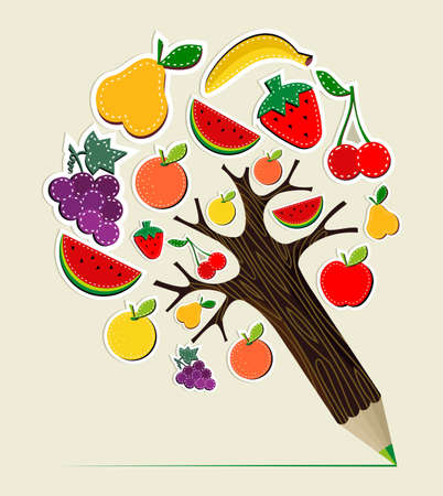 Healthy fruit eating stitch concept pencil tree. Vector illustration layered for easy manipulation and custom coloring. Vector