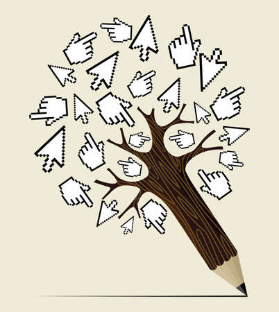 Mouse over click hand and arrow concept pencil tree. Vector illustration layered for easy manipulation and custom coloring. Vector