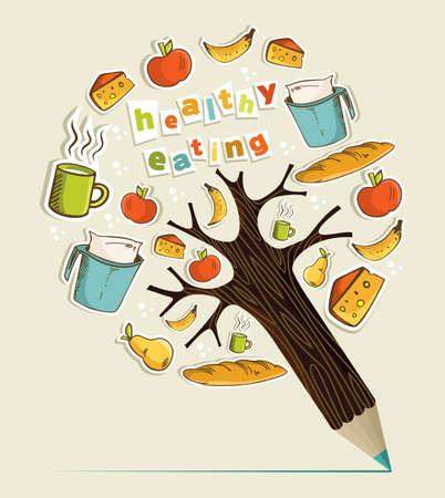 コンセプト鉛筆木を食べる健康食品。ベクトル イラストを簡単に操作およびカスタム着色層します。  イラスト・ベクター素材