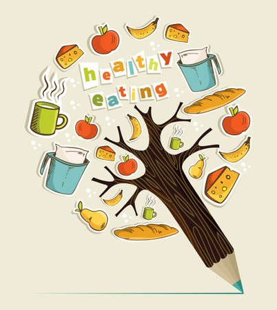 Healthy food eating concept pencil tree. Vector illustration layered for easy manipulation and custom coloring.