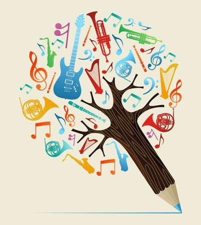 estudiar: Estudio de la música del diseño del árbol del lápiz. Ilustración vectorial en capas para la manipulación fácil y colorante de encargo. Vectores