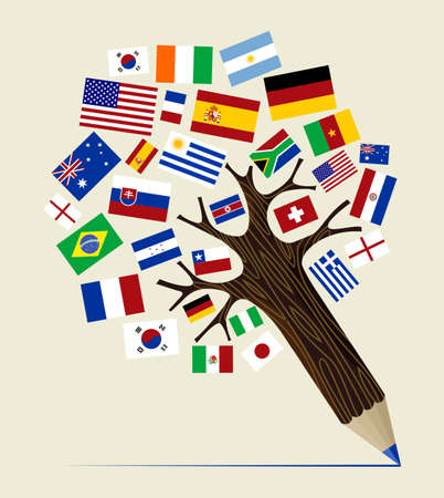 leccion: Concepto de diseño del árbol de lápiz países Global. Ilustración vectorial en capas para la manipulación fácil y colorante de encargo.