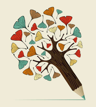 ginkgo leaf: Ginkgo biloba leaves concept pencil tree. Vector illustration layered for easy manipulation and custom coloring.