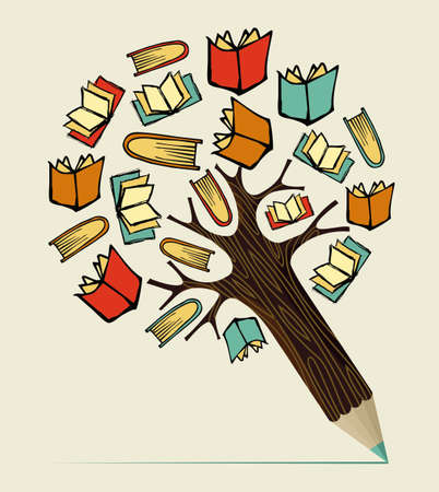 La lectura de libros concepto de educación árbol lápiz. Ilustración vectorial en capas para la manipulación fácil y colorante de encargo.