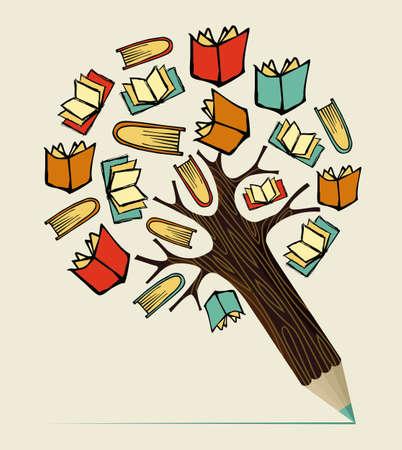 libro caricatura: La lectura de libros concepto de educaci�n �rbol l�piz. Ilustraci�n vectorial en capas para la manipulaci�n f�cil y colorante de encargo. Vectores