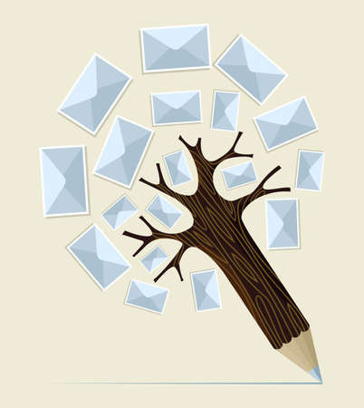 Mailing postcard envelope concept pencil tree. Vector illustration layered for easy manipulation and custom coloring. Vector