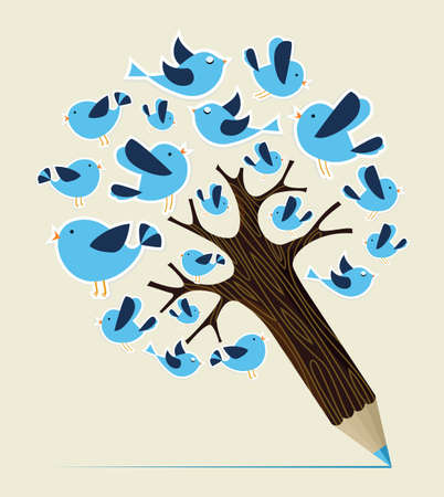 Flying tweeting birds concept pencil tree. Vector illustration layered for easy manipulation and custom coloring. Vector