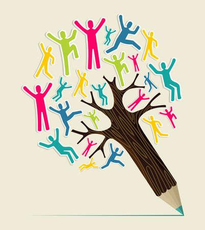 다양성의 세계 사람들이 개념 연필 나무. 벡터 일러스트 레이 션 쉬운 조작 및 사용자 지정 색상에 계층.