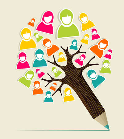 Diversity social media people profile concept pencil tree. Vector illustration layered for easy manipulation and custom coloring. Stock Vector - 20602608
