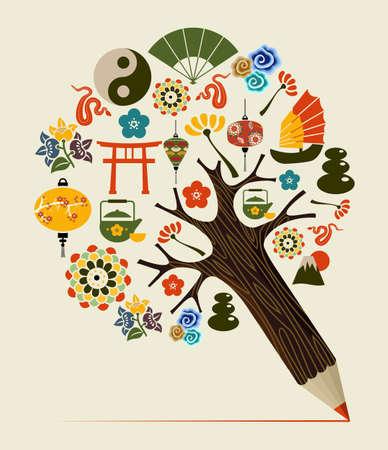 arbol de la sabiduria: Concepto de dise�o del �rbol Orient s�mbolos chinos l�piz. Ilustraci�n vectorial en capas para la manipulaci�n f�cil y colorante de encargo.
