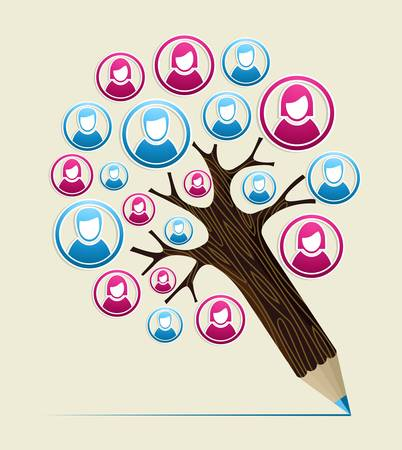 thumbnail: Social media study design pencil tree. Vector illustration layered for easy manipulation and custom coloring.