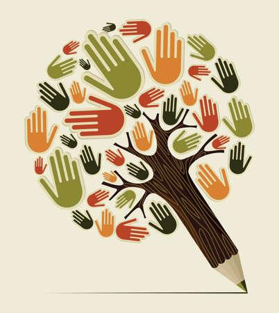 estudiar: Diversidad mano concepto del árbol de lápiz. Ilustración vectorial en capas para la manipulación fácil y colorante de encargo. Vectores
