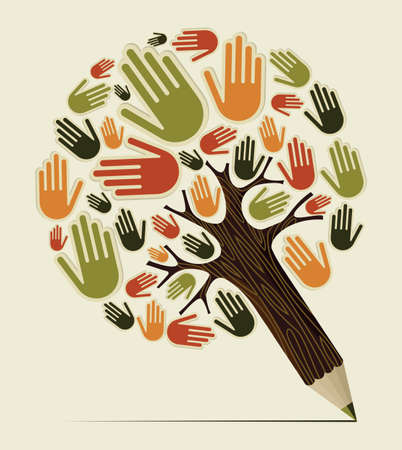 finger prints: Diversity people hand concept pencil tree. Vector illustration layered for easy manipulation and custom coloring.