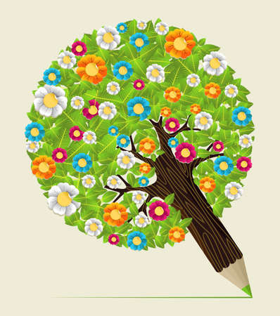 Colored flores leaf  concept pencil tree design. Vector illustration layered for easy manipulation and custom coloring. Stock Vector - 20607877