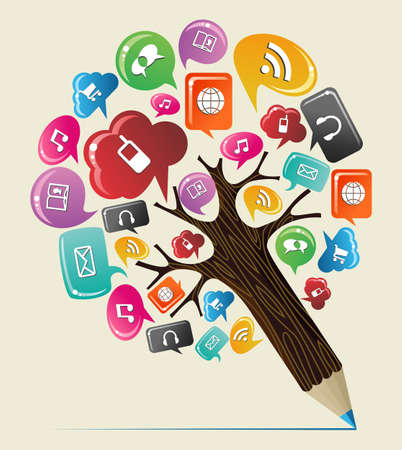 Media: *Geo location pin pointer* concept pencil tree. Vector illustration layered for easy manipulation and custom coloring.