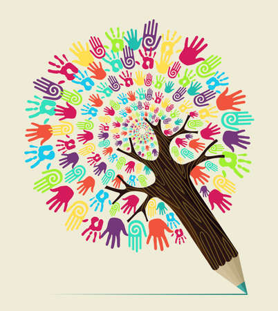 Diversity people hand concept pencil tree. Vector illustration layered for easy manipulation and custom coloring. Stock Vector - 20603014