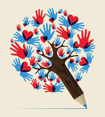 Corazón de las manos del amor colorido concepto diseño del árbol de lápiz. Ilustración vectorial en capas para la manipulación fácil y colorante de encargo. Foto de archivo - 20602839