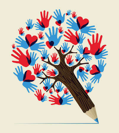 Heart colorful  hands love concept pencil tree design. Vector illustration layered for easy manipulation and custom coloring. Vector