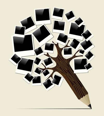 Cadre photo notion arbre généalogique de crayon Vintage instant. Illustration vectorielle couches pour une manipulation facile et la coloration personnalisée. Banque d'images - 20602678