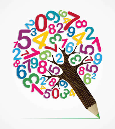 group objects: Collection of numbers concept pencil tree design. Vector illustration layered for easy manipulation and custom coloring. Illustration