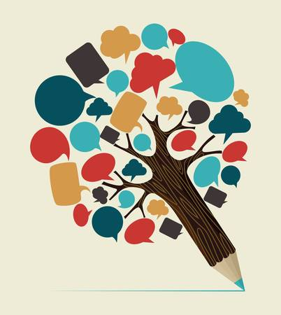 Communication speech bubble concept pencil tree. Vector illustration layered for easy manipulation and custom coloring. Çizim