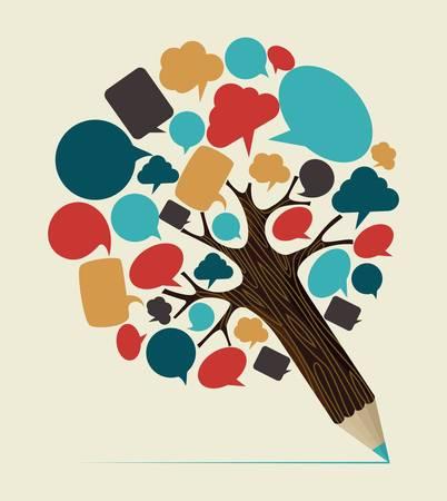 Comunicación de burbuja concepto del árbol de lápiz. Ilustración vectorial en capas para la manipulación fácil y colorante de encargo.