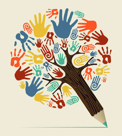 Diversity people hand concept pencil tree. Vector illustration layered for easy manipulation and custom coloring. Vector