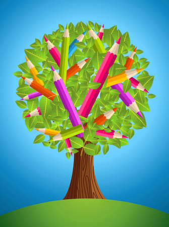 Colorful back to school conceptual tree. Vector file layered for easy manipulation and custom coloring. Vector