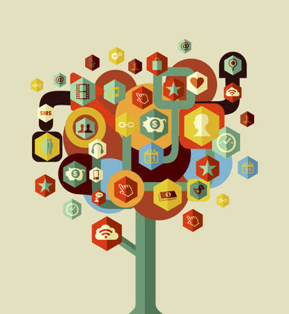 Social media network tree concept . Vector file layered for easy manipulation and custom coloring. Vector