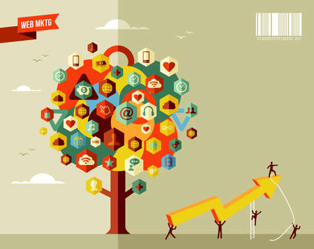 web marketing: Marketing teamwork business rising arrow concept tree  . Vector file layered for easy manipulation and custom coloring.