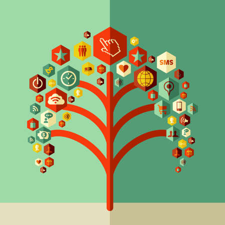 Social media tree concept design. Vector file layered for easy manipulation and custom coloring. Vector