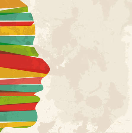 diversidad: Diversidad de colores transparentes bandas Perfil de mujer sobre fondo grunge. Esta ilustración contiene transparencias y es en capas para la manipulación fácil y colorante de encargo.