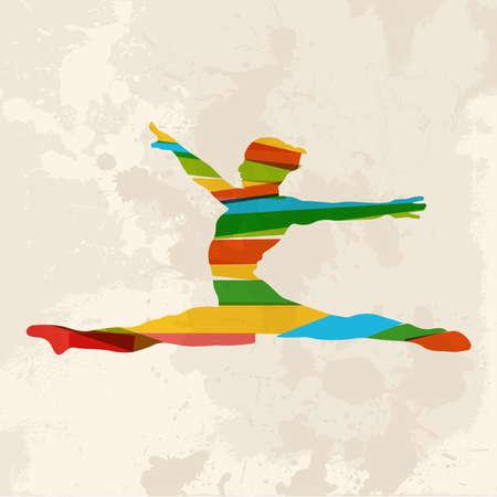 Diversidad de colores bandas transparentes Gimnasio mujer sobre fondo grunge. Esta ilustración contiene transparencias y es en capas para la manipulación fácil y colorante de encargo. Foto de archivo - 20603354