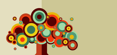 simple life: Circles tree concept design. Vector file layered for easy manipulation and custom coloring. Illustration