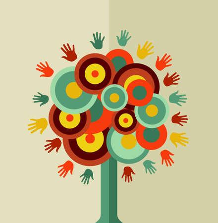 Trendy boomhand conceptontwerp. Vector bestand gelaagd voor eenvoudige manipulatie en aangepaste kleuren. Stock Illustratie