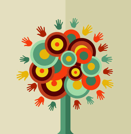 Trendy tree hand concept design. Vector file layered for easy manipulation and custom coloring. Иллюстрация