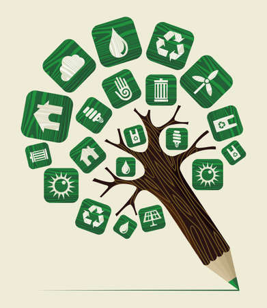 Sustainable environment education concept pencil tree. Vector illustration layered for easy manipulation and custom coloring. Vector