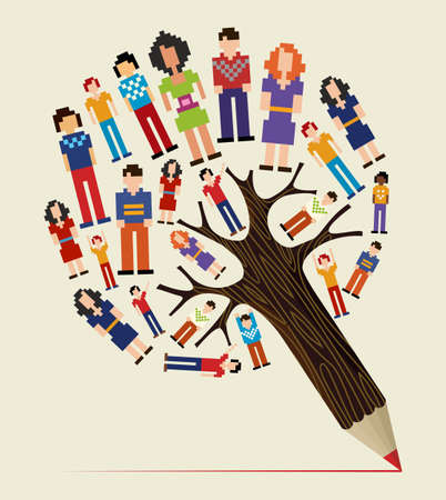 Diversity social media networks pixel people concept pencil tree. Vector illustration layered for easy manipulation and custom coloring. Vector