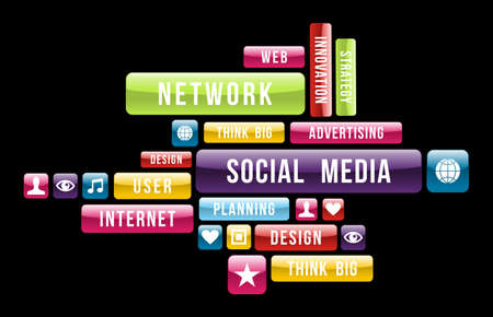 social actions: Social networks Internet cloud composition with glossy web buttons. Vector illustration layered for easy manipulation and custom coloring. Illustration