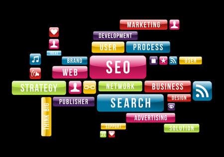 Media: Internet SEO cloud composition with glossy web buttons. Vector illustration layered for easy manipulation and custom coloring.