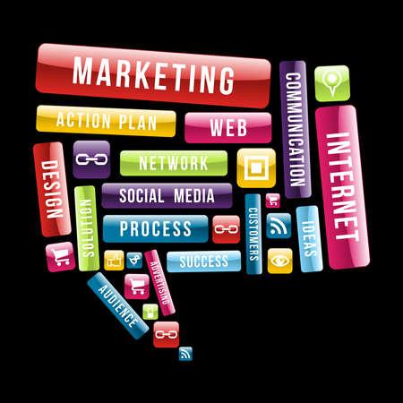 Marketing y Comunicación Web Concepto de texto en las redes sociales bocadillo. Ilustración vectorial en capas para la manipulación fácil y colorante de encargo.