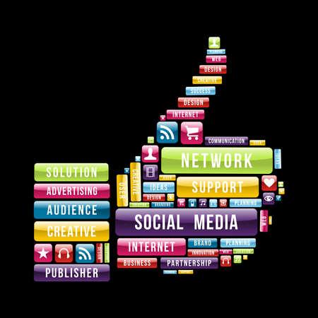 network marketing: Thumb Medios de comunicaci�n social a la composici�n manual con los botones web brillante. Ilustraci�n vectorial en capas para la manipulaci�n f�cil y colorante de encargo.