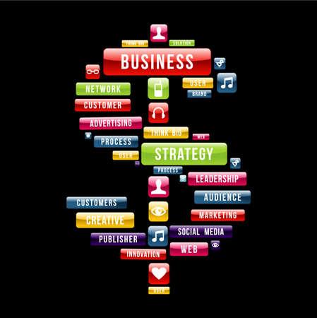 Bedrijfsstrategie geldteken samenstelling met glanzende web knoppen. Vector illustratie gelaagd voor eenvoudige manipulatie en aangepaste kleuren. Vector Illustratie