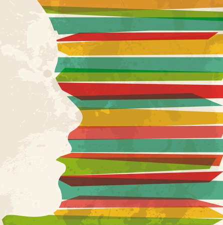 Diversity colors transparent bands woman head silhouette over grunge background. This illustration contains transparency and is layered for easy manipulation and custom coloring. Vector