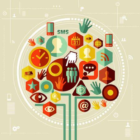 Dise�o de medios de comunicaci�n social circuito conceptual �rbol. Archivo vectorial en capas para la manipulaci�n f�cil y colorante de encargo.