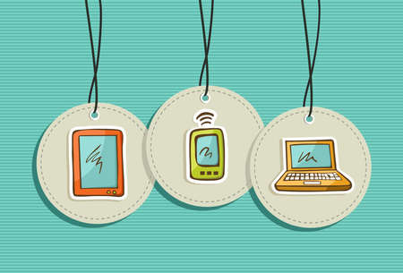 Web technology devices design elements set background.   Vector