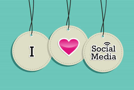 I love social media sign elements set background. Stock Vector - 20607367